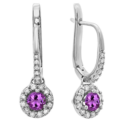 Dazzlingrock Collection 18K 3 MM Each Round Amethyst & White Diamond Ladies Halo Dangling Drop Earrings, White Gold