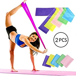 Toua Fitness Exercise Resistance Bands Rubber Yoga Elastic Band Yoga Rubber Loop Sport Fit Training Equipment Workout Pilates Elastic Band for Gym, Physical Therapy, Yoga, Pilates (Pack of 2)