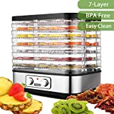 Food Dehydrator Machine With 7 Trays Temperature Control for Food Knob Button/250Watt