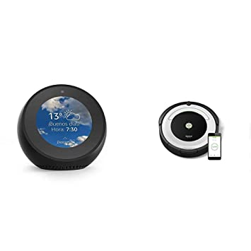 Echo Spot negro + iRobot Roomba 691- Robot aspirador para suelos duros y alfombras,
