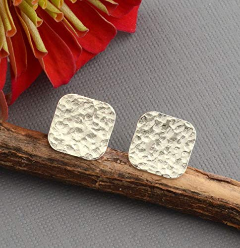 Flat hammered sterling silver disc stud post earrings lightweight 10mm squares ()