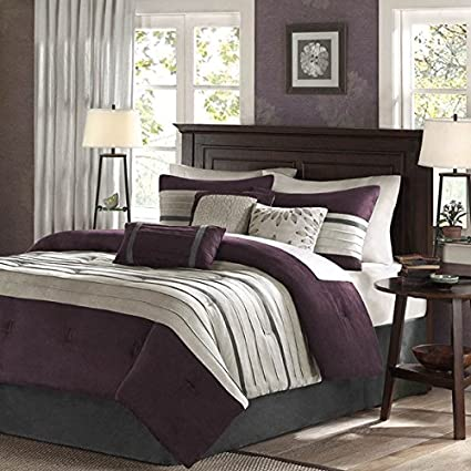 7 Piece Plum Purple Taupe Patchwork Comforter Cal King California Set, Grey  Adult Bedding Master