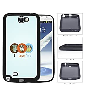Three Cute Owls in Brown/Orange/Blue Circle I Love You Sign with Light Blue Background Samsung Galaxy Note II 2 N7100 Rubber Silicone TPU Cell Phone Case