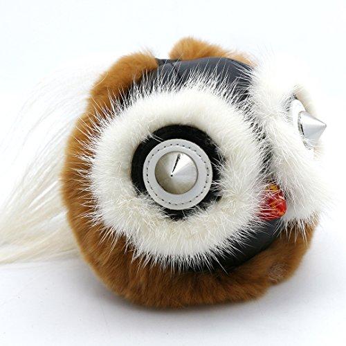 Super Cute Fox Fur Owl Monster Bag Charm Ornaments Car Keychain Furry Keyring Key Chain Christmas Gift(Brown&White Tail)