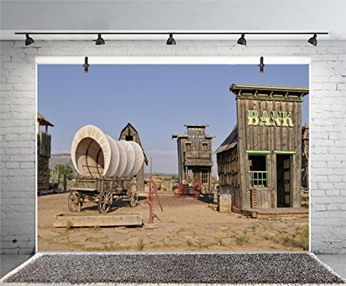 Leyiyi 7x5ft Photography Background Vintage Downtown Backdrop Grunge Bank Hall Post Office Western Travel Trees Moutains Movie and Television Base Photo Portrait Vinyl Studio Video Shooting Prop from Leyiyi