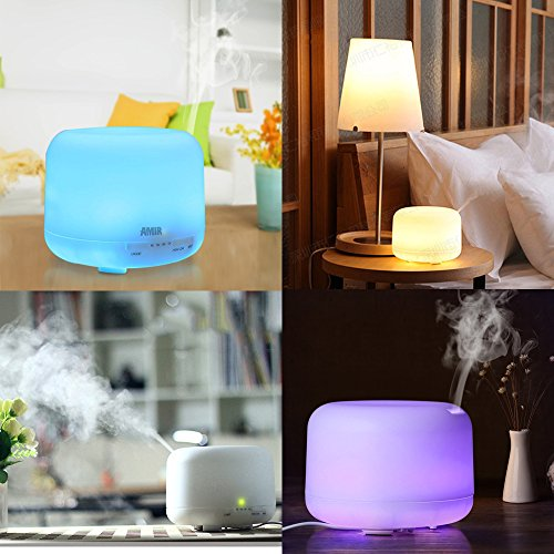 AMIR 500ml Essential Oils Diffuser, Cool Mist Ultrasonic Humidifier with 10 Hours Continuous Mist, 4 Timer Settings,7 changing Color LED lights, for Spa, Baby Room, etc by AMIR (Image #3)