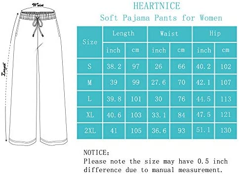 HEARTNICE Soft Pajama Pants for Women, Cotton Print Sleep Pants Lightweight Lounge Sleep Pj Bottoms