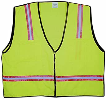 Lime Mutual 16310 High Visibilty Polyester Mesh Back Surveyor Safety Vest with Pockets 2X-Large
