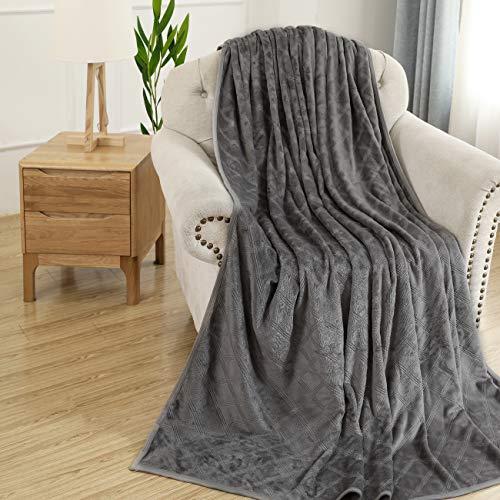 Bencier Fleece Flannel Soft Lightweight Stripe Microfiber Breathable Comfy Throw Blanket (Grey, 50