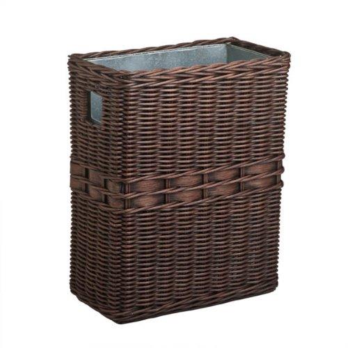 The Basket Lady Large Wicker Waste Basket with Metal Liner, One Size, Antique Walnut (Metal Rattan Baskets)