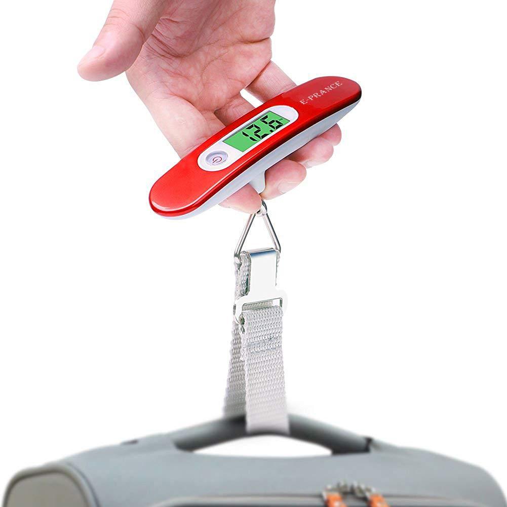 E-PRANCE Pese Bagage Electronique//P/èse Valise de Voyage Balance Num/érique Portable Ext/érieur LCD R/étro-clair/é Max 50 KG// 110 LB Id/éal pour Voyage//Shopping//Usage Domestique