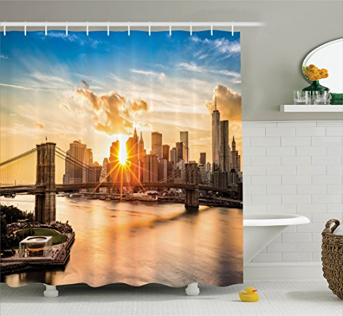 Ambesonne NYC Decor Shower Curtain Set, Cityscape of Brooklyn Bridge and Lower Manhattan Hudson River Center of Fashion Art and Culture, Bathroom Accessories, 84 Inches Extralong, Multi