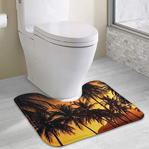 (Warm-Tone Palm Tree Wallpaper Memory Foam Contour Bath Rugs Non Slip Soft and Absorbent U Shaped Bathroom Bath Mats Rug Carpet)
