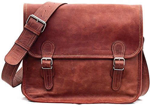 Tracolla (m) Borsa A Tracolla Vintage In Pelle (a4) Paul Marius Brown La Sacoche