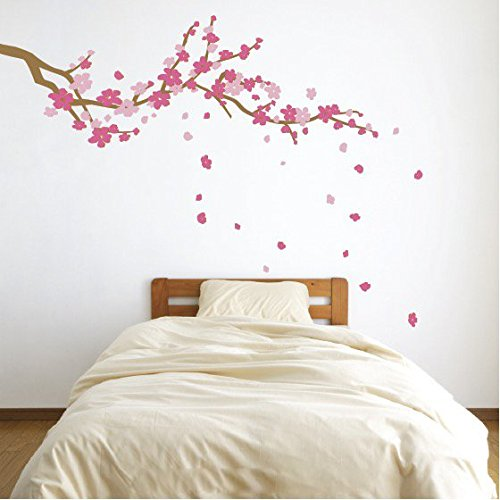 (Large Japanese Cherry Blossom Tree Branch Vinyl Decal Wall Sticker for Girls Flowery Room Decor (Light Brown, Pink, Light Pink, 19x48 inches))