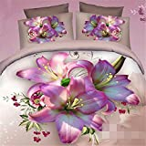 Pink 3D Lily Print 4 Piece 100 Pure Cotton Duvet Cover Sets,King offers