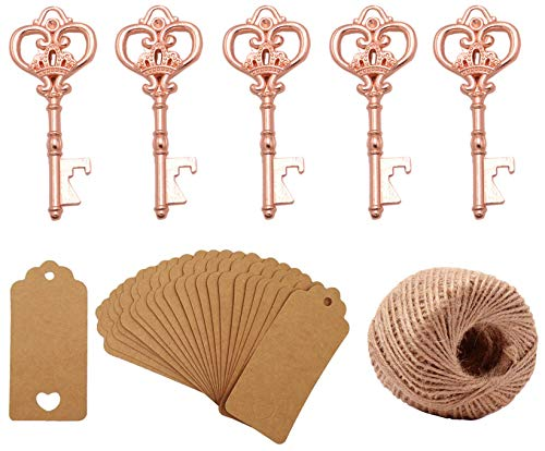 Yansanido Pack of 50 Rose Gold Skeleton Key Bottle Opener with Escort Tag Card and Twine for Wedding Favors for Guests Party Favors (style 4 Rose Gold 50pcs)