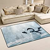 Personalized Area Rugs Merry Christmas Snowman Happy Year 3'x2' (36x24 Inches) Floor Doormats Mat Soft Living Room Bedroom Home Kitchen Decorative