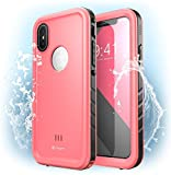 iPhone X Case, Clayco [Omni] Waterproof Full-body Rugged Case with Built-in Screen Protector for Apple iPhone X / iPhone 10 2017 Release (Pink)