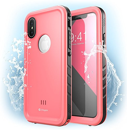 iPhone X Case, Clayco [Omni] Waterproof Full-body Rugged Case with Built-in Screen Protector for Apple iPhone X / iPhone 10 2017 Release (Pink) by Clayco