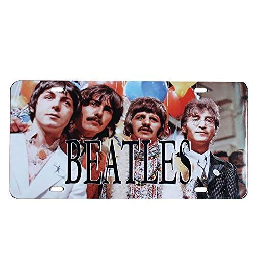 (NEWNESS WORLD Singer Theme Beatles Car Number Hanging Metal Tin Metal Sign Metal Plate Plaque for Pub/Bar/Home Wall Decoration(6 by 12 Inches))