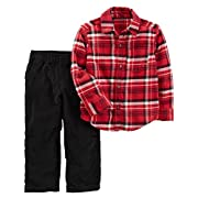 Carter's Baby Boys 2 Piece Playwear Sets, Red Plaid/Black Corduroy, 6 Months
