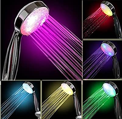 MOKAO New 7 Color LED Romantic Light Bright Water Bath Home Bathroom Shower Head Glow