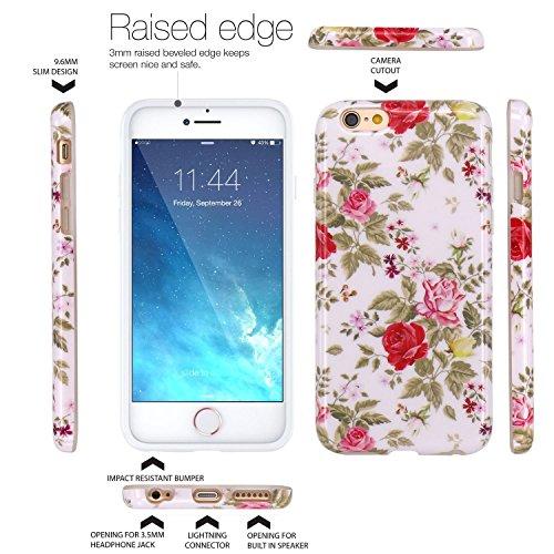iPhone 6 Hülle, LOVONKI Rosa Rot Rose Serie Flexible TPU Silikon Schutz Handy Hülle Handytasche HandyHülle Etui Schale Case Cover Tasche Schutzhülle für iPhone 6 6S