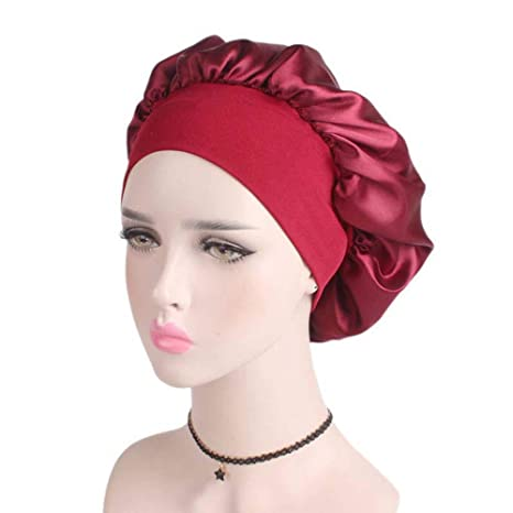 Amazon.com  Women Satin Solid Color Hair Band Sleep Cap Chemotherapy ... 2491c210b850