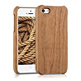 kwmobile Natural wood case for the Apple iPhone SE / 5 / 5S in cherrywood light brown