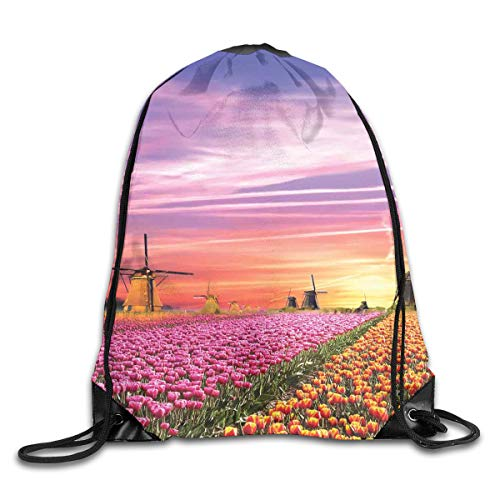 View Tulip Quick - Drawstring Backpacks Bags,Tulip Fields And Windmills In European Landscape With A Sunset Sky View,5 Liter Capacity,Adjustable