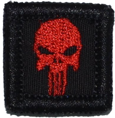 Punisher Skull 1x1 inch Morale Patch - Multiple Colors (Black with Red)