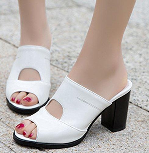 Couleur Mules on Slip Toe Peep Femme Blanc Easemax Banquet Fashion Unie 74znIqSa