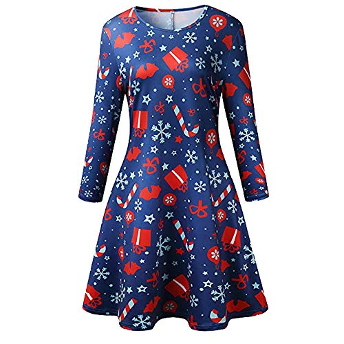 Seaintheson Women's Christmas Dress - Vintage Santa Printed Costume Pullover Flared A-Line Loose Swing Cocktail Skirt -