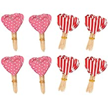 200 Pack Valentine's Cupcake Toppers - Heart Cupcake Picks for Food, Appetizer, Cocktail, Cupcake Decoration for Valentine's Day, Bridal and Baby Showers, Birthday Parties, 2.5 x 1.375 Inches