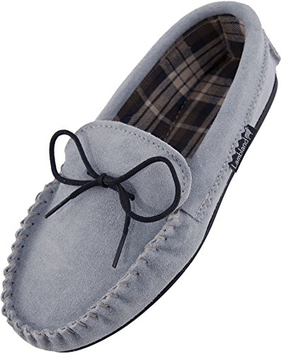 Lambland Ladies British Handmade Moccasin Slippers with Cotton Lining and Hard Wearing Sole – Sky Blue / Size US7