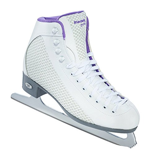 - Riedell 113 Sparkle/Womens Beginner/Soft Figure Ice Skates/Color: White and Violet/Size: 6