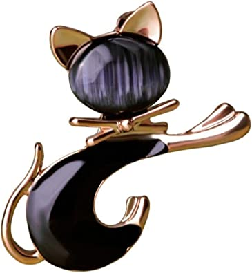 Lindo corbata negra Broche de gato Ópalos artificiales lisos ...