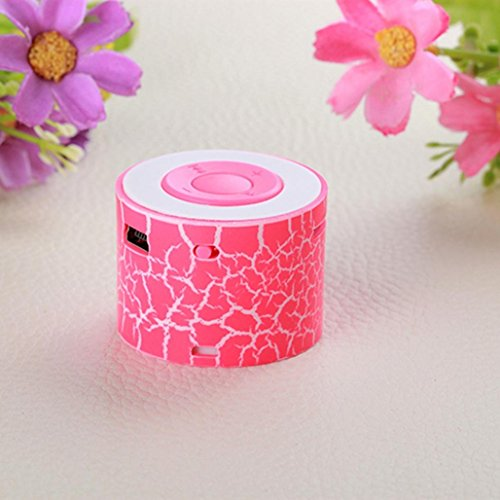 Price comparison product image Portable Mini Stereo Bass Speakers Music Player with LED Light Wireless TF Speaker, Tuscom (Hot Pink)