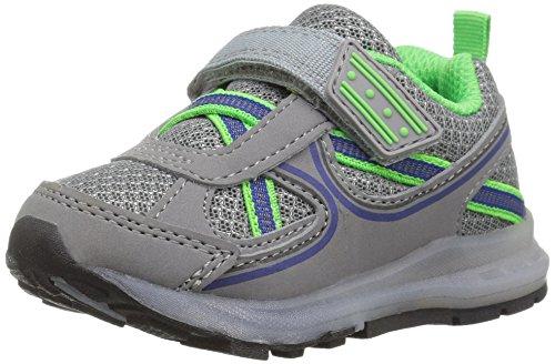 Carter's Excel Boy's Light-Up Sneaker, Grey/Green, 11 M US Little Kid