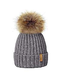 MIOIM Kids Child Baby Hat Winter Knitted Beanies Faux Fur Pompom Hat Bobble Ski Cap