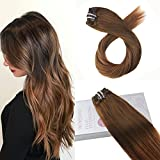 Moresoo 16 Inch Full Head Human Hair Extensions Clip in Hair Color #4 Brown Fading to #30 Ombre Clip on Human Hair Extensions Double Weft Remy Hair Clip in Clips 7PCS 120G