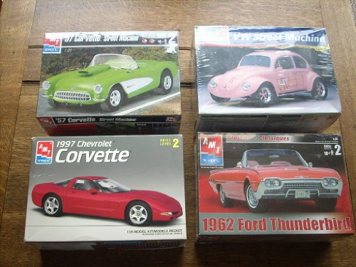 COLLECTION OF (4) NEW RARE MODEL KITS! Skill Level 2, Scale 1:25. AMT/ERTL: 1962 Ford Thunderbird (#31886), 1997 Chevrolet Corvette (#8327), 1957 ('57) Corvette Street machine (#31875). Revel Monogram VW Street Machine (Bug) #85-7143. Ships worldwide