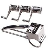 Rotary Cheese Grater - LOVKITCHEN Cheese Cutter Slicer Shredder with 3 Interchanging Rotary Ultra Sharp Cylinders Stainless Steel Drums & Slicer For Cheese, Nuts,Fruits