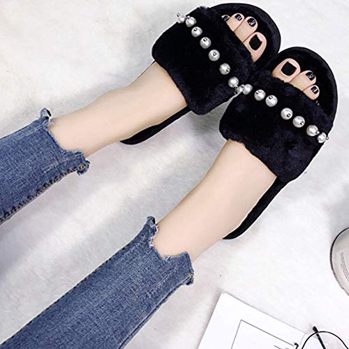 Black Td Autumn And Slippers Home Flat Simple Plush Female Slipper Brown Fashion Hair 39yards Winter Size Cotton Pearl color qUrAgwqH
