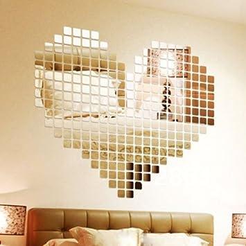 Wuiyepo 100 Stck DIY Fashion Silber 3D Wandaufkleber Mosaik Spiegel Abnehmbare Wohnzimmer Dekoration