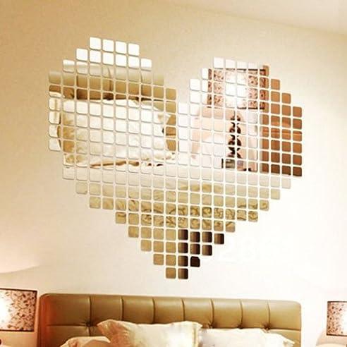 Wuiyepo 100 Stuck DIY Fashion Silber 3D Wandaufkleber Mosaik Spiegel Abnehmbare Wohnzimmer Dekoration