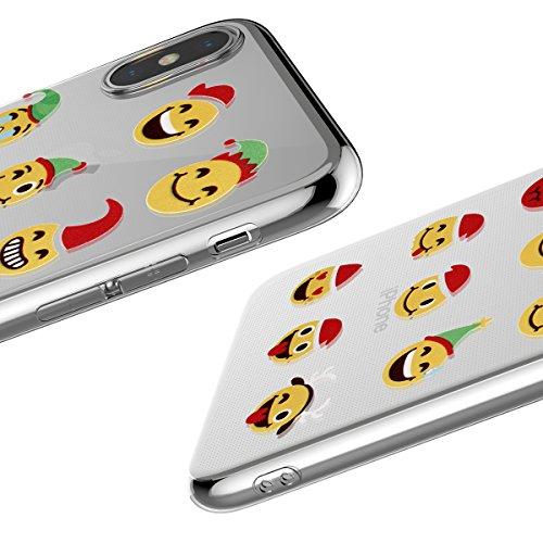 Christmas Funda iPhone X, FindaGift TPU Caja anti a prueba de choques a prueba de choques del teléfono del regalo de la Navidad de la protección completa de la pantalla de rasguño para iPhone X (Style Style 5