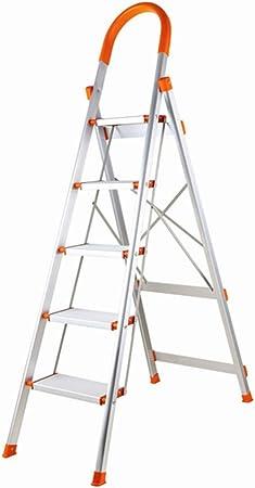 TIZI000 Escalera Plegable de 4 Pasos / 5 escaleras de Aluminio Plataforma Ligera Capacidad 150 kg (330 Libras) con Mango Antideslizante y Pedal Largo Multiusos: Amazon.es: Hogar