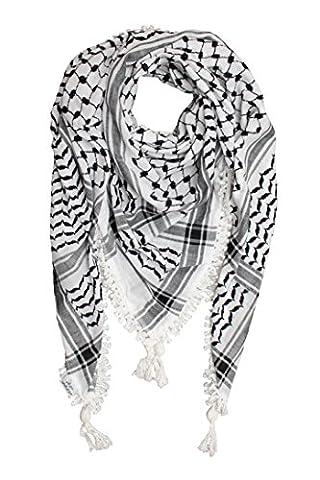 Hirbawi Kufiya Original Men's Royal Lace Arab Scarf One Size Black on White (Palestinian Scarf For Men)